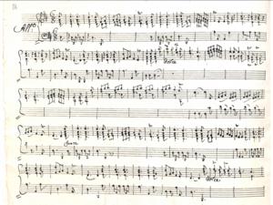 Charles-Antoine Campion - Image: Manoscritto del terzo movimento della sonata per cembalo in re maggiore numero 3 di Campion, conservata nel Fondo Ricasoli e datata 1790