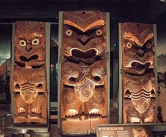 Austronesian peoples - Māori poupou from the Ruato tomb of Rotorua