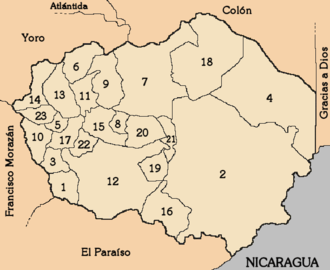 Olancho Department - Municipalities of Olancho Department keyed at left