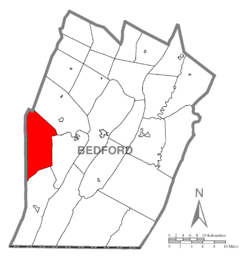 Map of Bedford County, Pennsylvania highlighting Juniata Township