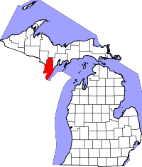 Map of Michigan highlighting Menominee County.svg
