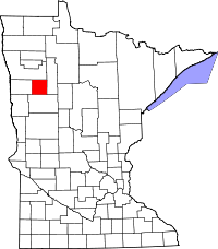 Map of Minnesota highlighting Mahnomen County