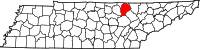 Map of Tennessee highlighting Fentress County