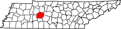 map of Tennessee highlighting Hickman County