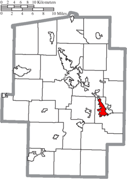 Location of Uhrichsville in Tuscarawas County