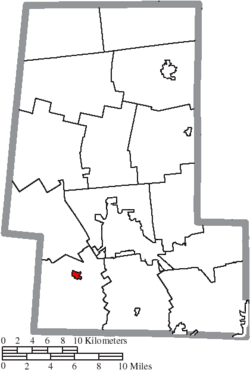 Location of Milford Center in Union County