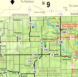 Map of Washington Co, Ks, USA.png