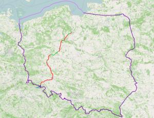 National road 5 (Poland) - Image: Mapa DK5