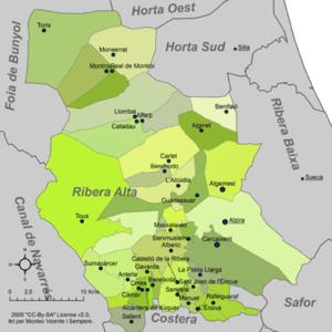Ribera Alta (comarca) - Municipalities of Ribera Alta