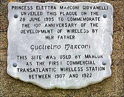 Photo of Guglielmo Marconi grey plaque