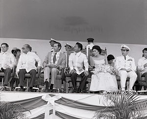 David C. Jones - Chairman of the Joint Chiefs of Staff, General David C. Jones with Foreign Minister of the Philippines, Carlos P. Romulo; Ambassador Richard W. Murphy; Philippine President Ferdinand Marcos; and Imelda Marcos at the Clark Air Base