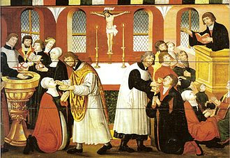 Christian headcovering - Painting of Martin Luther preaching (all women wearing a head covering).