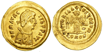 Maurice (emperor) - Tremissis of Emperor Maurice.