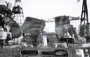 Japanese cruiser Maya - Maya in January 1943, showing damage sustained at Guadalcanal.