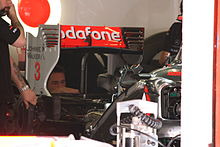 Photo de l'aileron arrière de la McLaren MP4-26 à Barcelone.