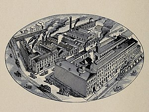 McShane Bell Foundry - Illustration of the McShane Bell Foundry factory complex located at 415-441 North Street (Guilford Avenue), Baltimore, MD.