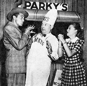 Harry Einstein - Einstein as Parky caught between Sheldon Leonard and Betty Rhodes in 1948.