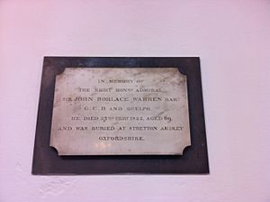 John Borlase Warren - Memorial to Sir John Borlase Warren, 1st Baronet, in St. Mary's Church, Attenborough