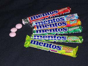 A number of different Mentos flavors