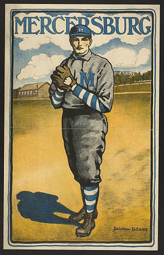 Mercersburg Academy - Mercersburg baseball player, poster by Bristow Adams, 1903