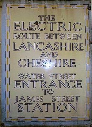 Mersey Railway - Sign advertising electric services at James Street.