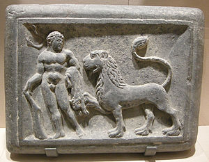 Nemean lion - Image: Met, gandhara, hercules and the nemean lion, 1st century