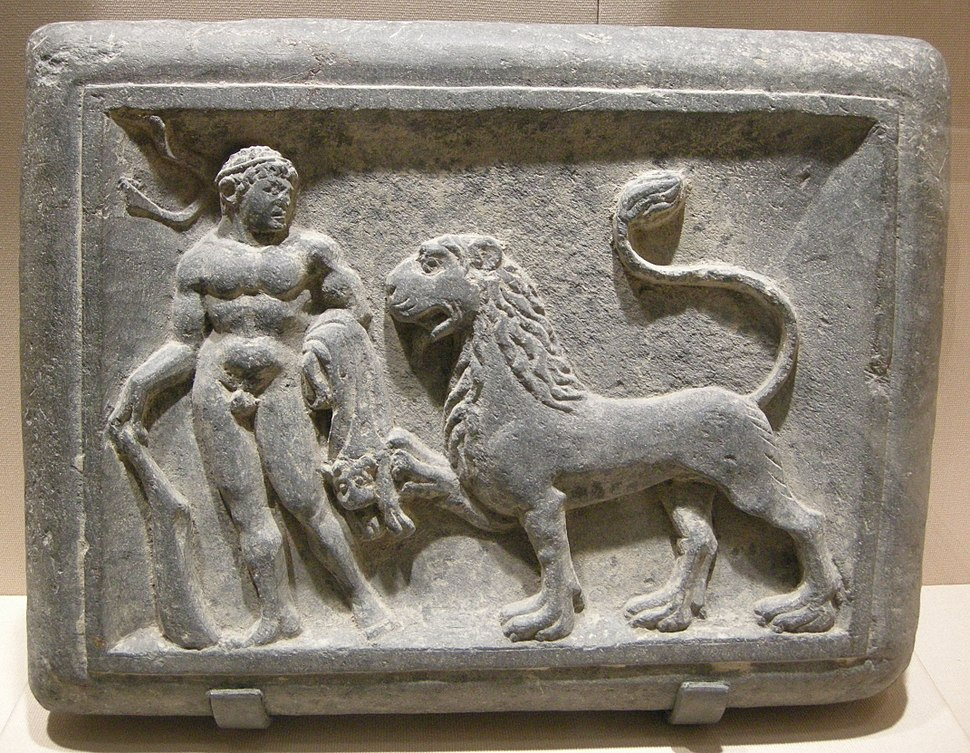 Met, gandhara, hercules and the nemean lion, 1st century