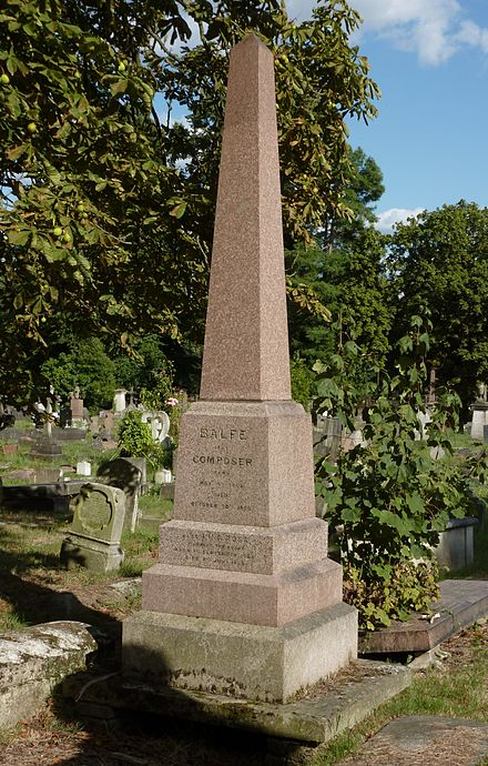 Balfe's funerary monument at Kensal Green Cemetery, London, photographed in 2014 Michael William Balfe grave Kensal Green 2014.jpg