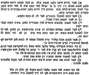 Schism in Hungarian Jewry - The nine clauses of the Michalovce Decree, printed in the 1869 edition of Lev ha'Ivri.