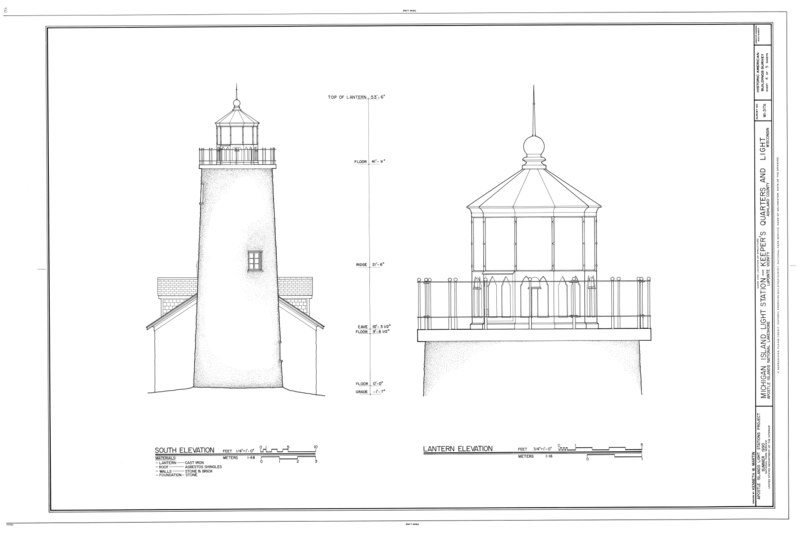 File:Michigan Island Light Station, Keeper's Quarters and Lighthouse, La Pointe, Ashland County, WI HABS WIS,2-LPOIT.V,3A- (sheet 4 of 5).tif
