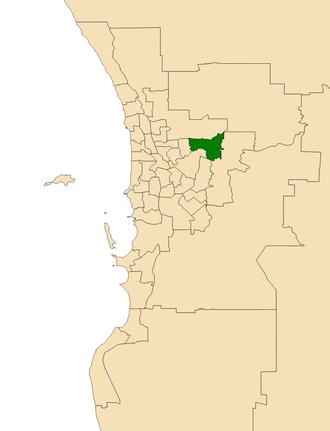 Electoral district of Midland - Location of Midland (dark green) in the Perth metropolitan area