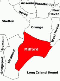 Map showing Milford and neighboring towns