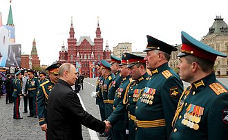 2017 Moscow Victory Day Parade - President Putin greeting the commanders of the contingents participating in the parade.