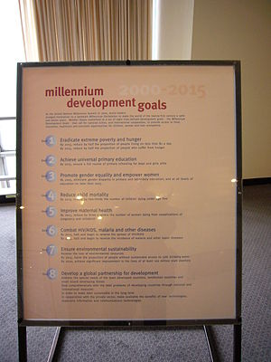 Primary education - A poster at the United Nations Headquarters in New York City, New York, United States, showing the Millennium Development Goals