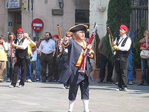 Miquelet (militia) - Trabucaire of Miquelets de Badalona with a uniform inspired by the First Free Company of Volunteers of Catalonia