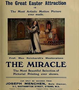 Academy 1-2-3 (cinema) - Trade press advertisement for The Miracle, March 1913
