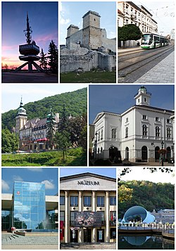 Clockwise from the top left corner: Avas TV Tower, Castle of Diósgyőr, Széchenyi Street, National Theatre of Miskolc, Cave Bath, Ottó Herman Museum, University of Miskolc, Palace Hotel of Lillafüred