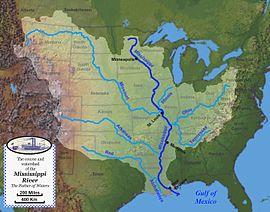Rieka mississippi na mape
