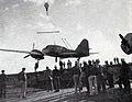 Mitsubishi Ki-46 is loaded on USS Attu (CVE-102) 1944.jpg
