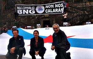 Ana Miranda Paz - Ana Miranda with Camilo Nogueira and Xavier Vence in the 2014 European elections campaign.