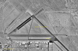 Satellitenaufnahme des Flughafens