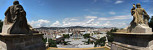 The view over Barcelona from outside the Palau Nacional on Montjuïc.