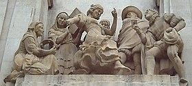 La Gitanilla (F. Coullaut-Valera, 1960). Detalle del monumento a Cervantes en la Plaza de España de Madrid.