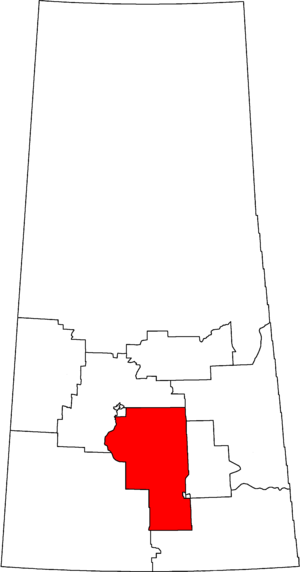 Moose Jaw—Lake Centre—Lanigan - Moose Jaw—Lake Centre—Lanigan in relation to other Saskatchewan federal electoral districts as of the 2013 Representation Order.