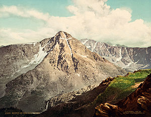 Mount of the Holy Cross - Photochrom print of Mount of the Holy Cross c. 1900. This image is a reversed view of the mountain compared to how it actually appears.