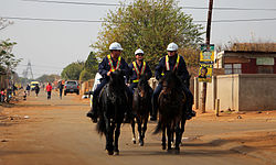 Mounted police in Bekkersdal, ahead of the 2014 election
