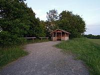 Muldetalbahnradroute Karls Hütte mit gelber Penisverzierung im Mai 2015.jpg