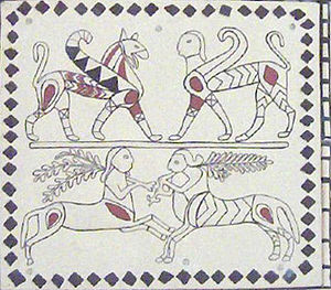 Phrygia - Detail from a reconstruction of a Phrygian building at Pararli, Turkey, 7th–6th Centuries BC; Museum of Anatolian Civilizations, Ankara. A griffin, sphinx and two centaurs are shown.