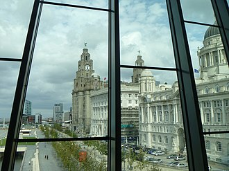 Museum of Liverpool - A view of Pier Head from The People's Republic gallery