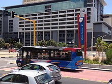 The Civic Centre station of the MyCiti Bus Rapid Transit system in Cape Town, South Africa along with a docked MyCiti bus